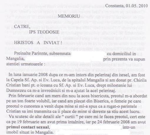 Fragment din MEMORIUL din 01 mai 2010, adresat lui Teodosie de una dintre victimele escrocate sentimental și material de preotul Cristian Chirilă. Plângerea femeii escrocate cuprinde 7 (șapte) pagini și redă cu lux de amănunte calvarul prin care a trecut femeia.