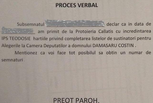 Proces-verbal de predare către preoții din Protoieria Mangalia a listelor pentru sustinerea candidatului preferat de Teodosie Petrescu.