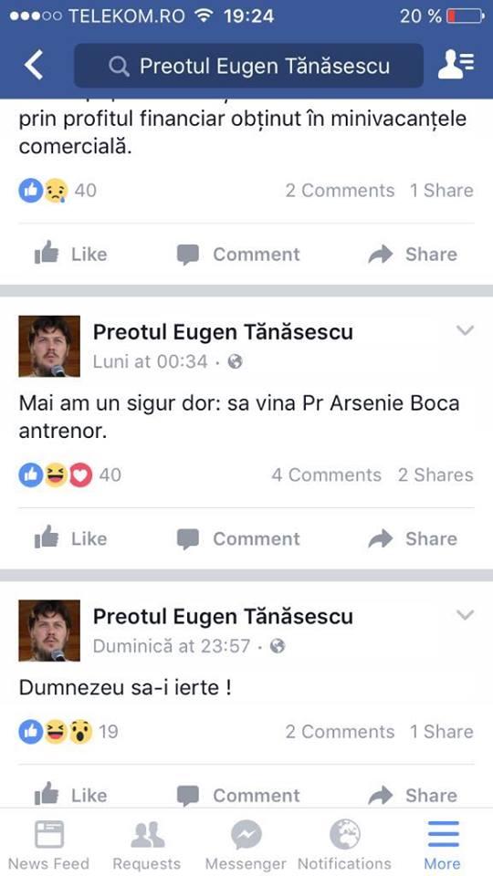 În loc să scrie pe garduri, ziduri sau uși și pereți de latrine publice, Eugen Tănăsescu face bășcălie de Arsenie Boca pe facebbok.