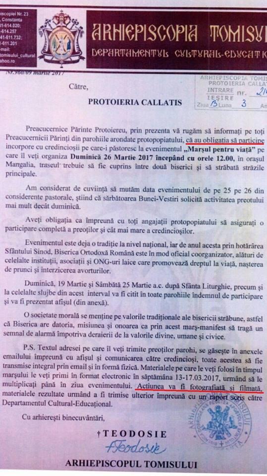 Adresa Arhiepiscopiei Tomisului remisă către Protieria Callatis.