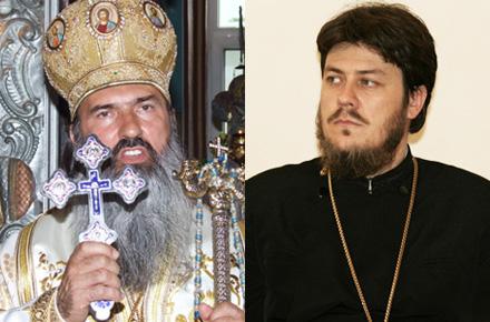 Doi netrebnici, ascunși în spatele crucii și odăjdiilor preoțești.