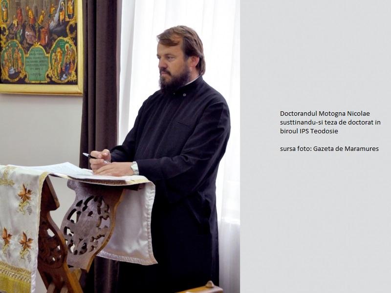 Marţi, 30 octombrie 2012, Arhid. Nifon Motogna, administratorul Catedralei Episcopale Sfânta Treime din Baia Mare, a susţinut lucrarea de doctorat ăn biroul lui Teodosie (foto preluată din DEZVĂLUIRI.ro).