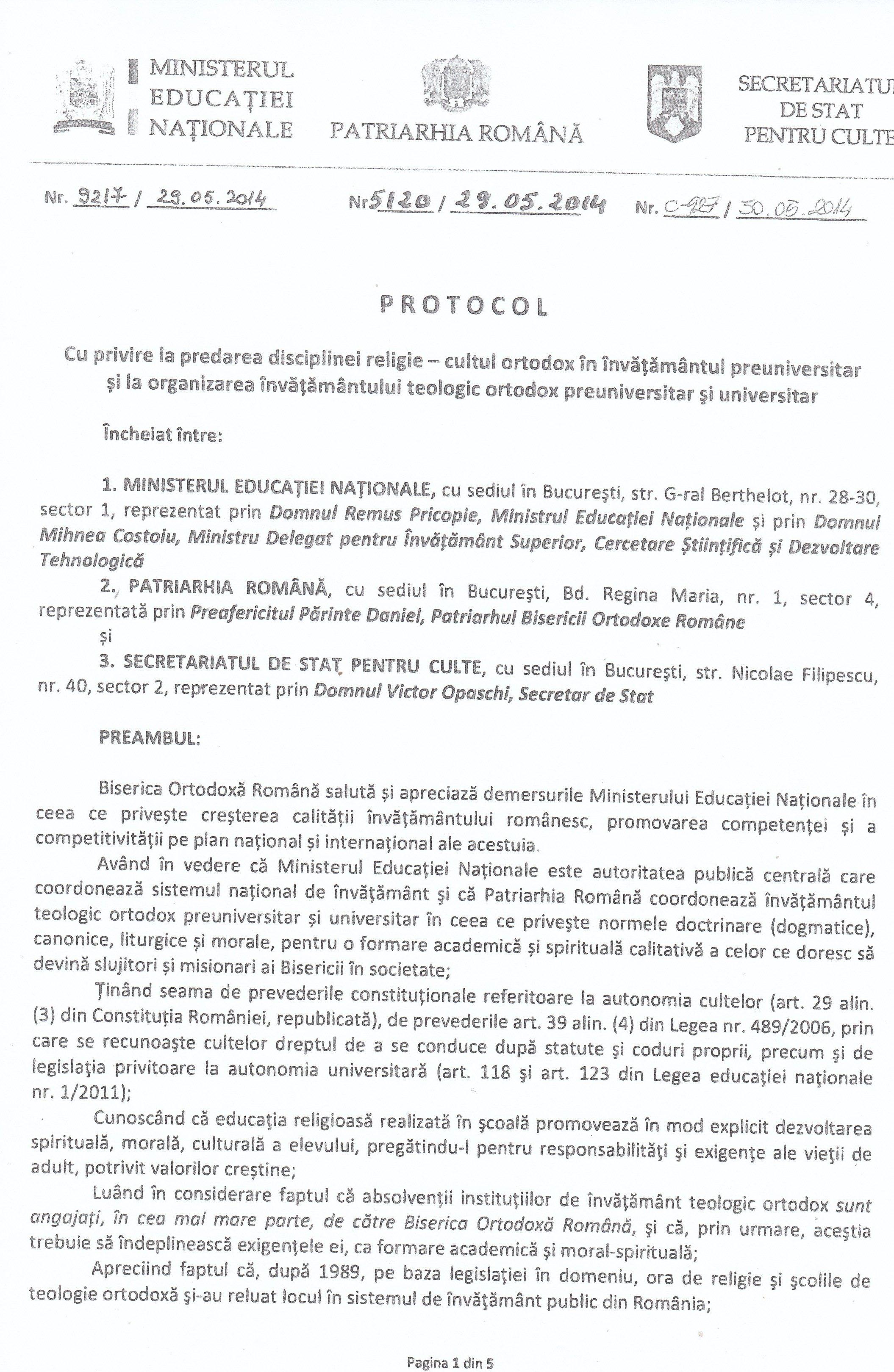 Prima pagină a PROTOCOLULUI încheiat între Ministerul educației Naționale și Biserica Ortodoxă Română.