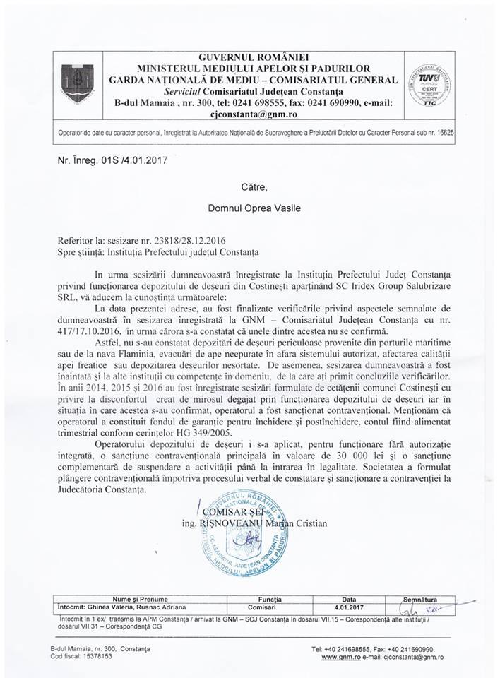 Răspunsul Gărzii de Mediu - Comisariatul Constanța către Prefect.