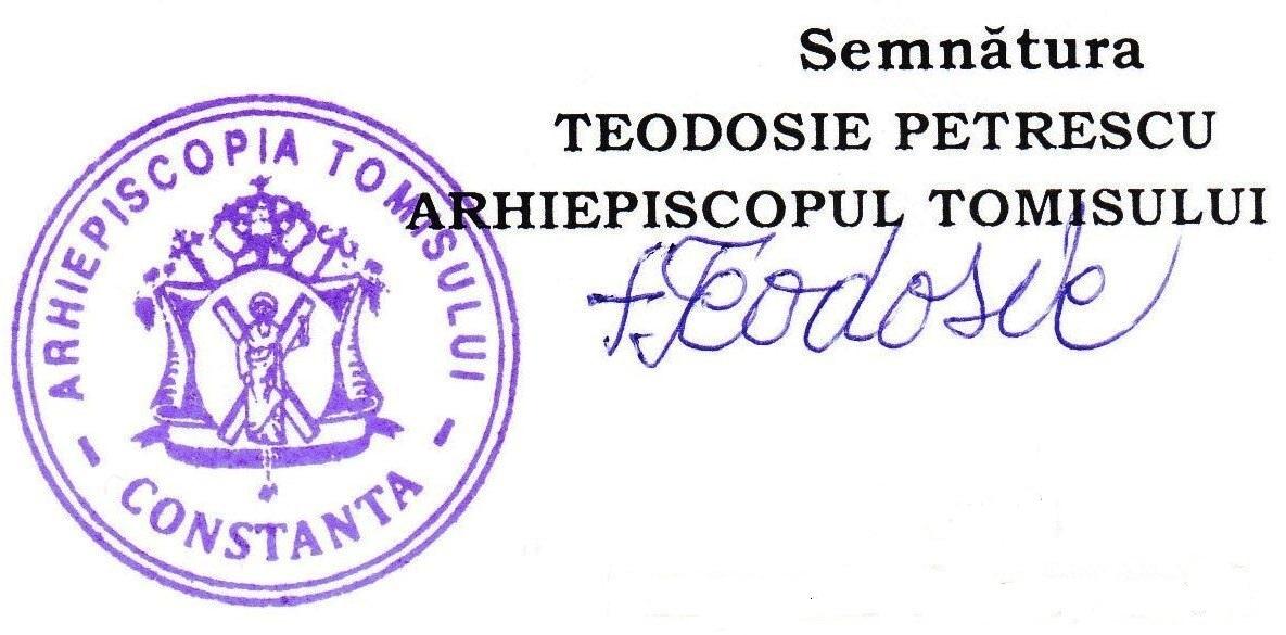 Ștampila Arhiepiscopiei Tomisului NU conține denumirea oficială sub care cultul (BISERICA ORTODOXĂ ROMÂNĂ) a fost recunoscut, sau iniţialele acestuia (B.O.R.).