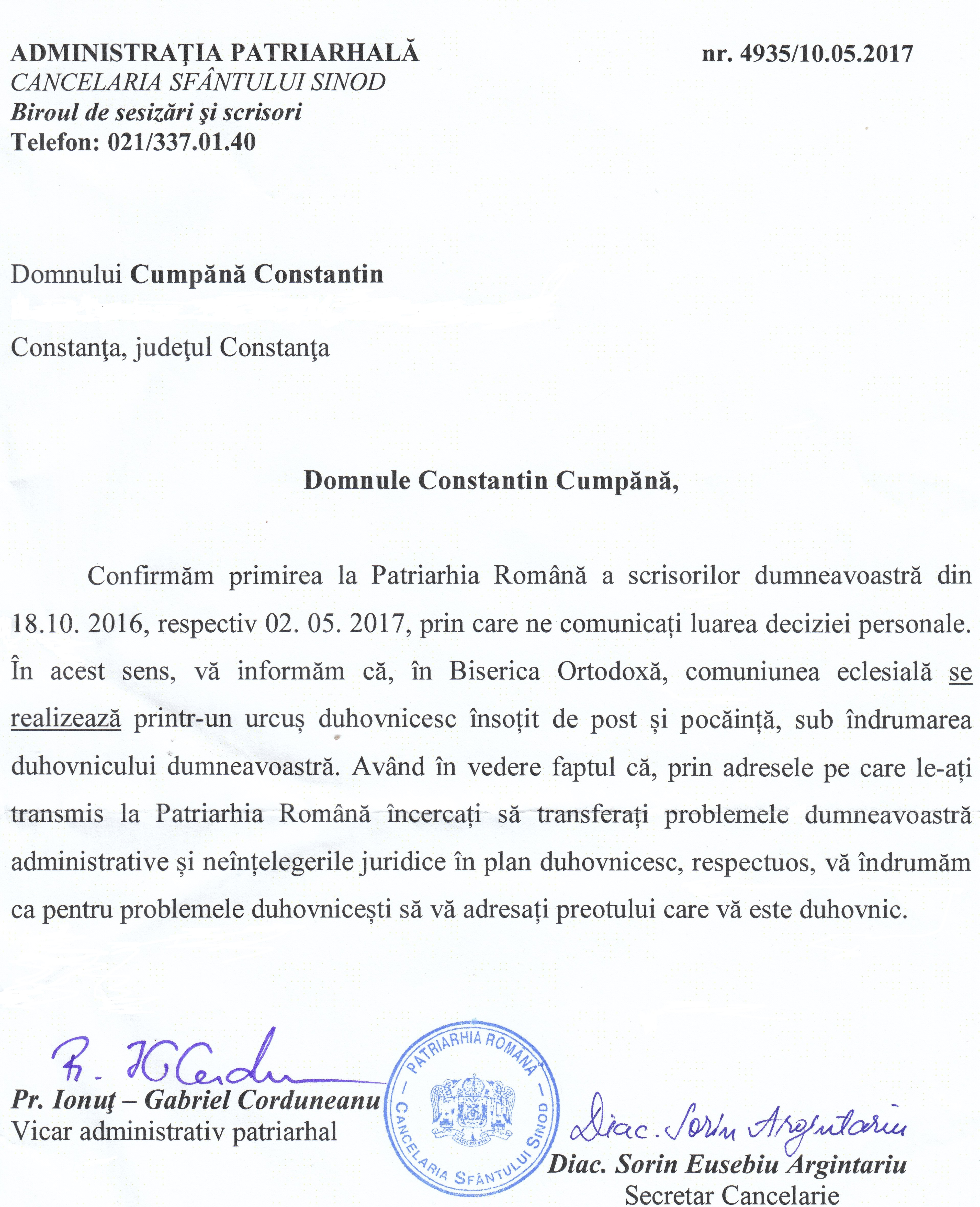 """Adresa nr. 4935/ 10 mai 2017 a Administrației Patriarhale, o mostră de """"comuniune eclesială"""" între Biserica Ortodoxă și credincioși."""