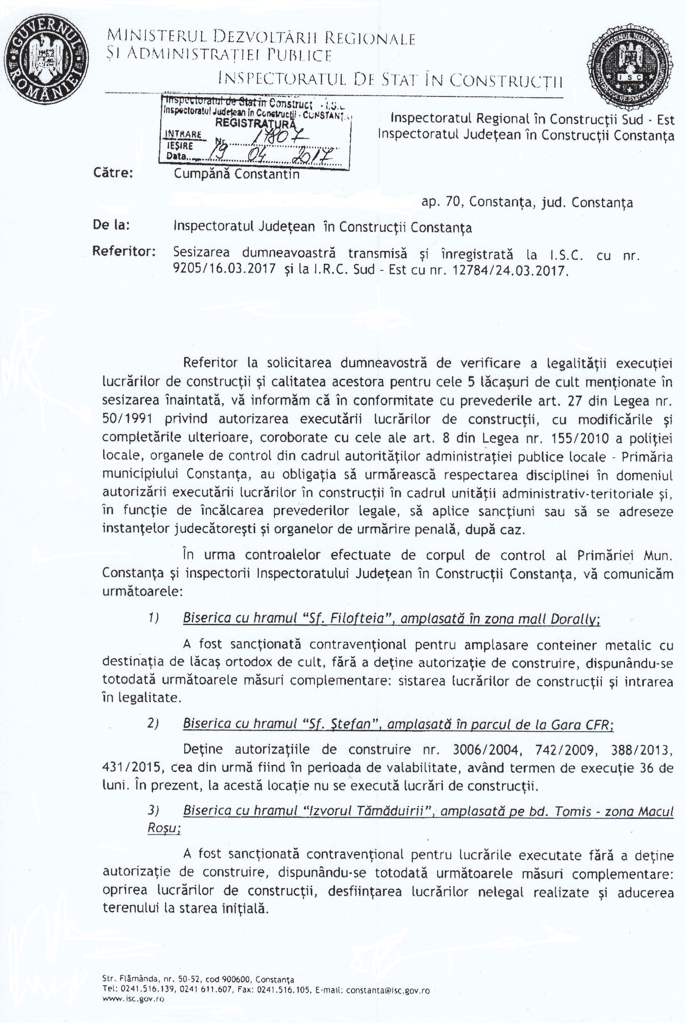 Răspunsul primit de la Inspectoratul Județean în Construcții Constanța, referitor la controalele efectuate la unele biserici, precum și sancțiunile aplicate.