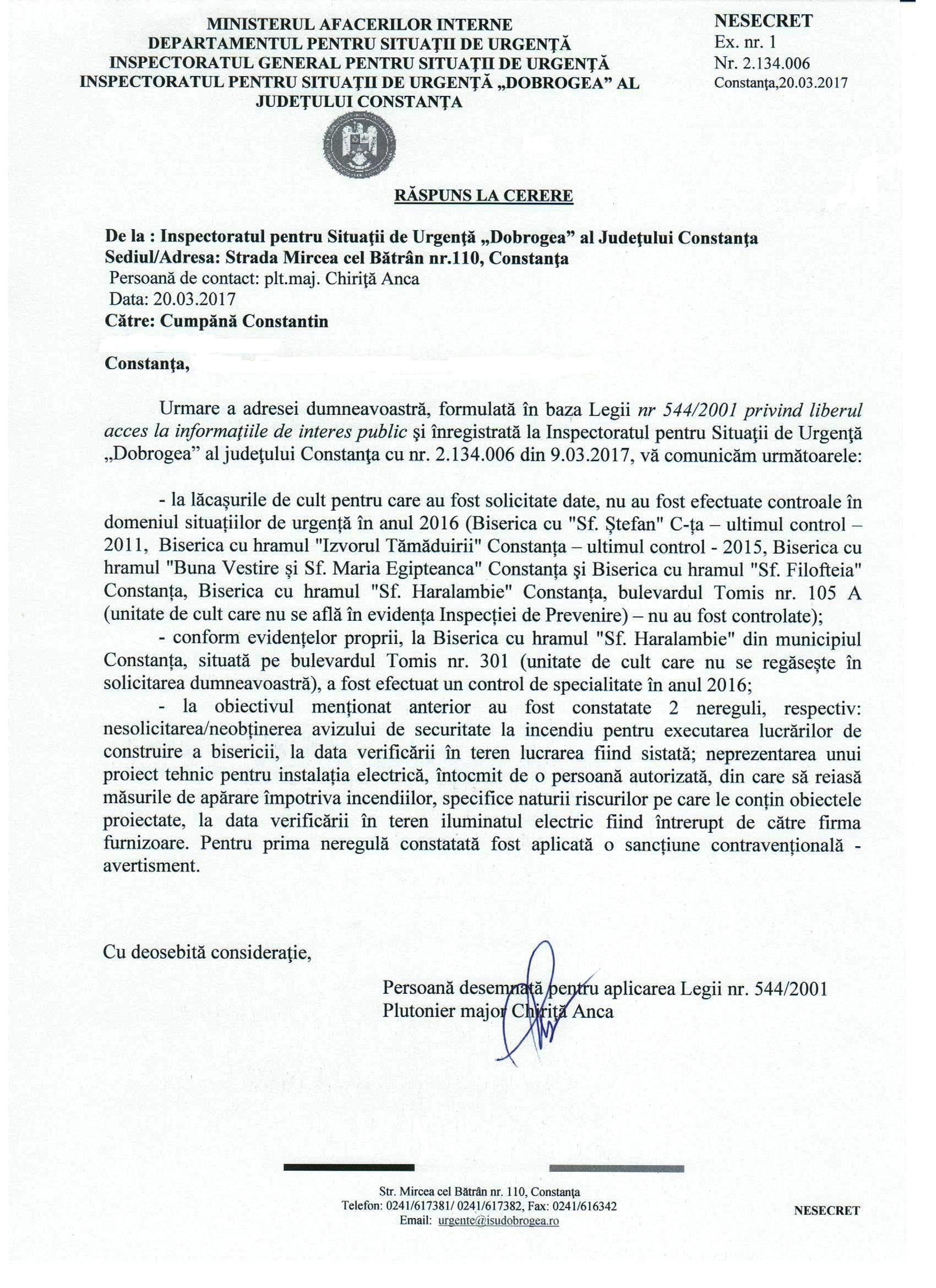 Răspunsul primit de la Inspectoratul pentru Sitauții de Urgență DOBROGEA, referitor la starea unor biserici de pe teritoriul municipiului Constanța.