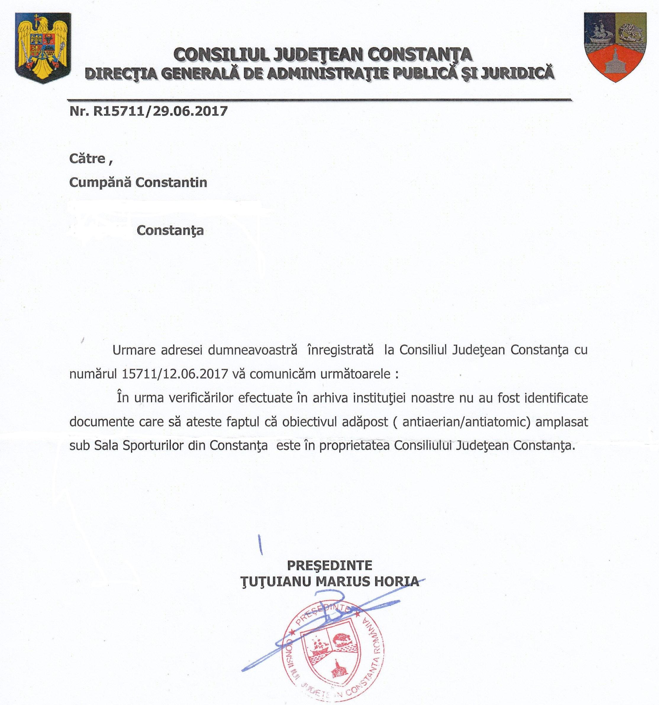 Răspunsul primit de la Consiliul Județean Constanța.