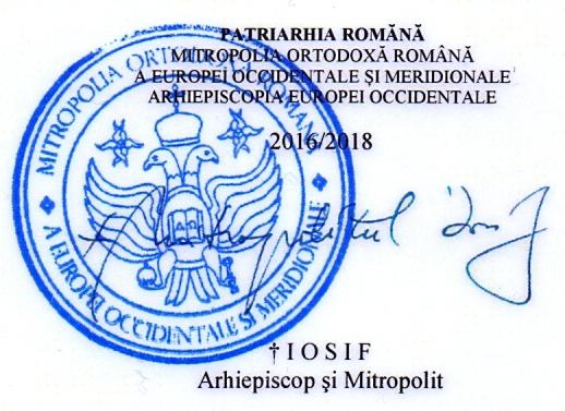 Ștampila Mitropoliei și semnătura mitropolitului Iosif Pop.