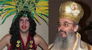 """Florin Cojocaru zis """"Emanuela sugativa"""" și admiratorul său, Serafim Joantă zis """"Madam Pană""""."""