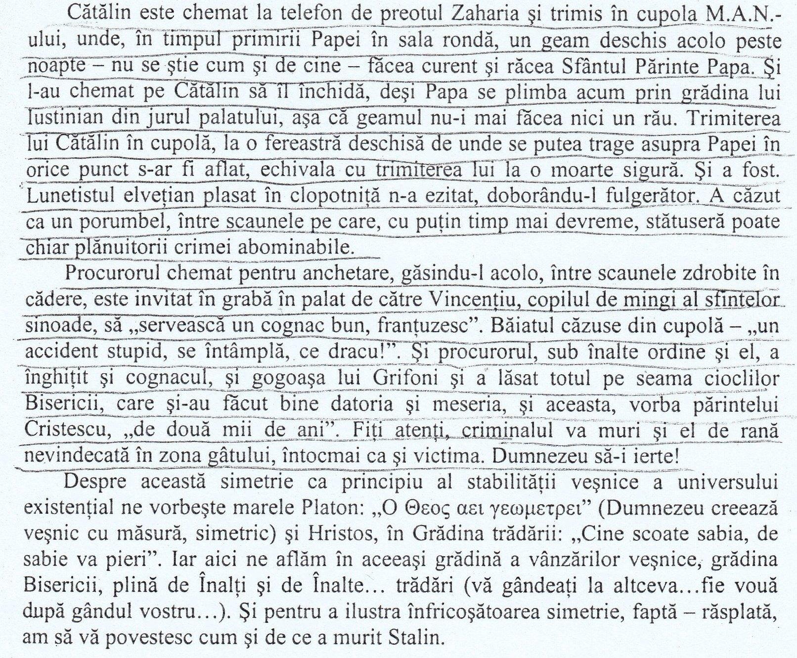"""Descrierea împrejurărilor în care fost ucis ing. Cătălin Vidu, la data de 07 mai 1999, cu ocazia vizitei Papei Paul al II-lea în România (pag. 109 din cartea """"Fascinația haosului"""")."""