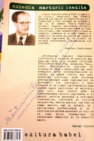 "Vladimir Dumitrescu, ""Mărturisirile unui «criminal politic»ˮ, 2013, Editura ""Babelˮ."