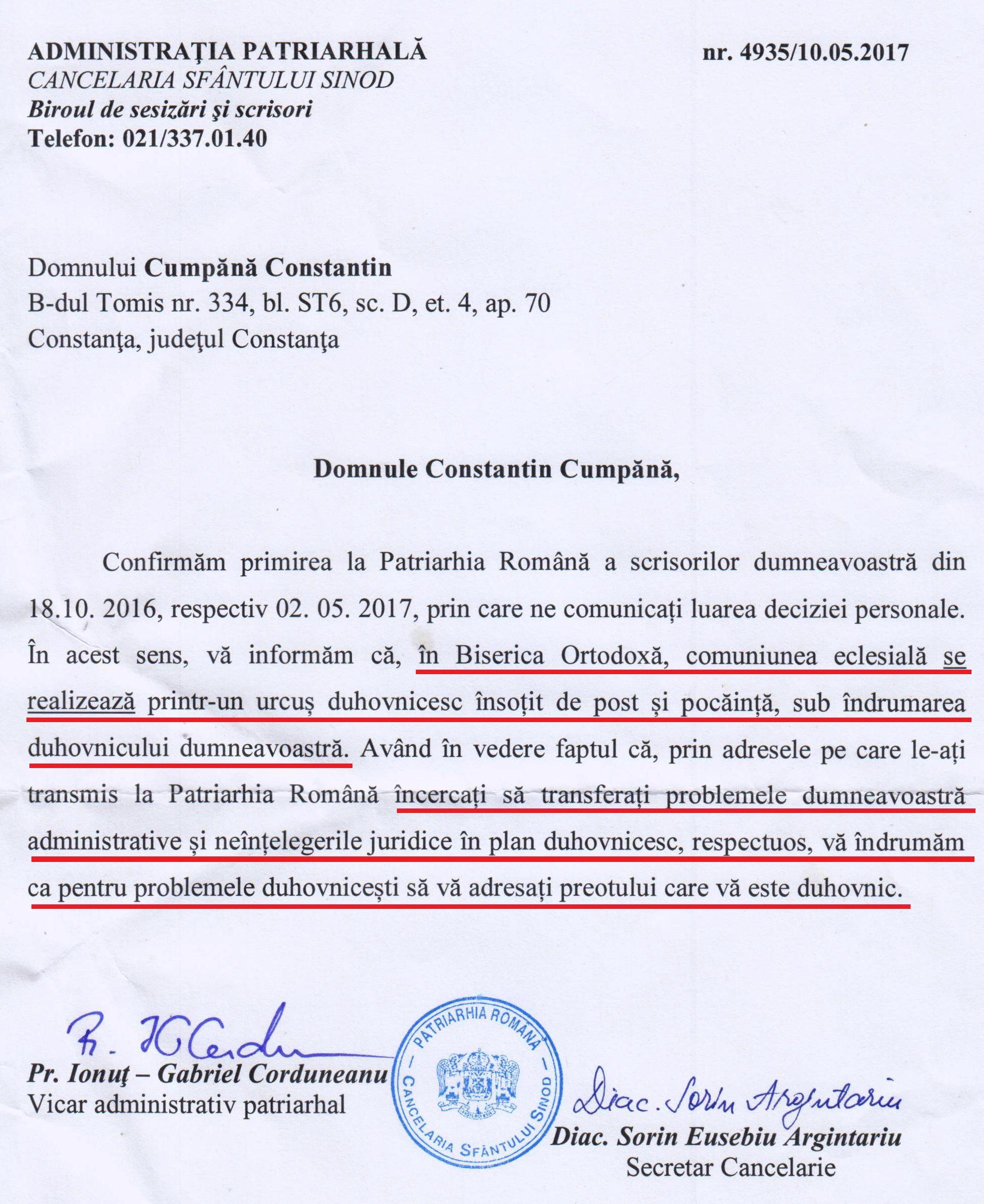 Răspuns primit de la Cancelaria Patriarhală.