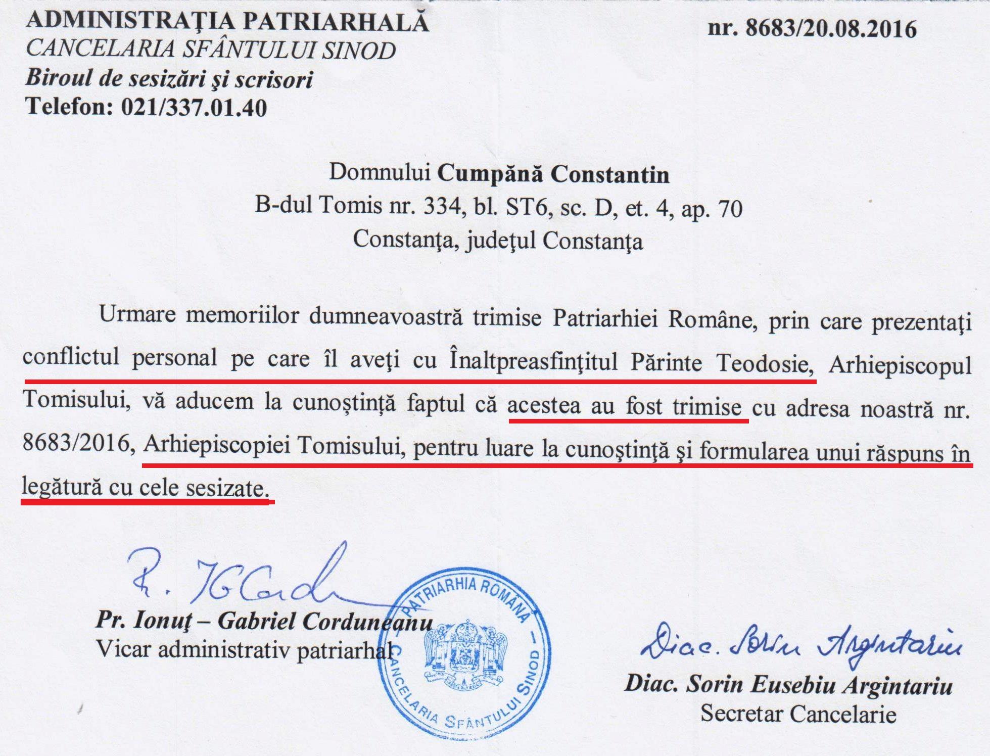 """Patriarhia consideră că am """"un conflict personal"""" cu Teodosie și remite acestuia sesizările mele!"""