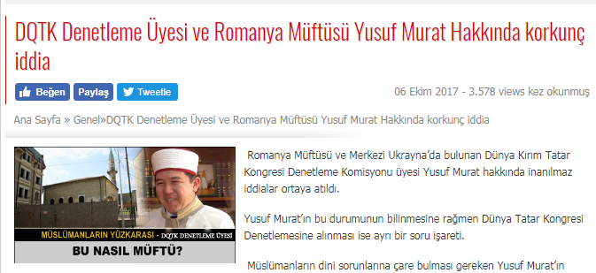 """Pagina de internet a publicației QIRIM'IN SESI (""""Vocea Crimeei"""") din 06 octombrie 2017."""