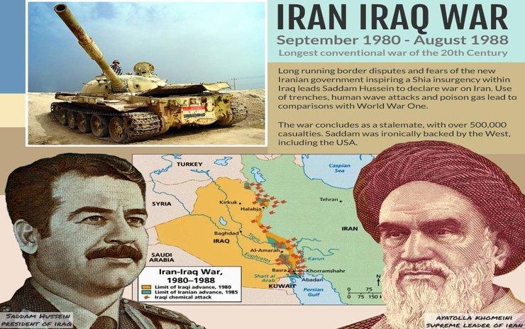 """Războiul dintre Iran și Irak (cunoscut și sub denumirea de Primul Război din Golful Persic și alte nume) a fost un conflict militar între armatele Irakului și Iranului, început în septembrie 1980, și a durat până în august 1988, fiind cel mai lung război convențional al secolului al XX-lea. A fost cunoscut sub denumirea de """"Războiul din Golful Persic"""" înainte de """"Războiul din Golf"""" din 1990. Conflictul a început când Irak a atacat Iranul pe 22 septembrie 1980, printr-o invazie terestră și aeriană a teritoriului iranian. Războiul a survenit după o serie lungă de dispute teritoriale legate de frontiera comună a celor două state și temerile Irakului legate de o insurgență Șiia (ramura islamică predominantă, însă oprimată a Irakului) inspirată de Revoluția Iraniană. Irak dorea de asemenea locul Iranului ca putere dominantă în zona Golfului Persic, dar, deși Irakul spera să profite de haosul apărut după Revoluția Iraniană și a atacat fără o declarație de război, trupele sale au avut un succes limitat și au fost respinse rapid de iranieni care au recuperat aproape tot teritoriul pierdut până în iunie 1982. În următorii șase ani, Iranul a fost în ofensivă."""