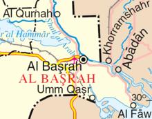 Situarea portului Khorramshar în zona de conflict.