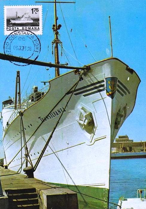 """Motonava """"Transilvania"""" în portul Constanța (carte poștală). Ștampila poștei indică data de 07 septembrie 1976. Timbrul poștal reprezintă chiar nava """"Transilvania""""!"""