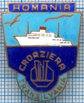 Insignă cu profilul navei TRANSILVANIA, emisă de Oficiul Național de Turism.