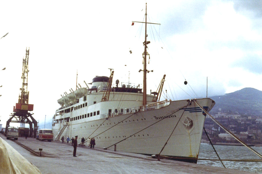 """Nava de pasageri """"Transilvania"""", în aprilie 1972."""