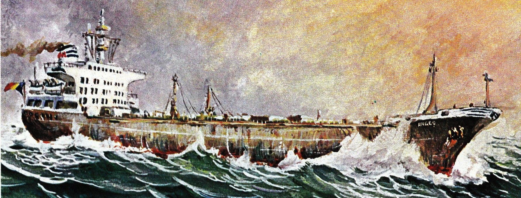 Petrolierul ARGES (pictură de Valentin DONICI).