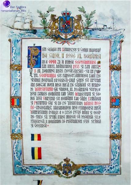 Certificatul de botez al navei TRANSILVANIA.