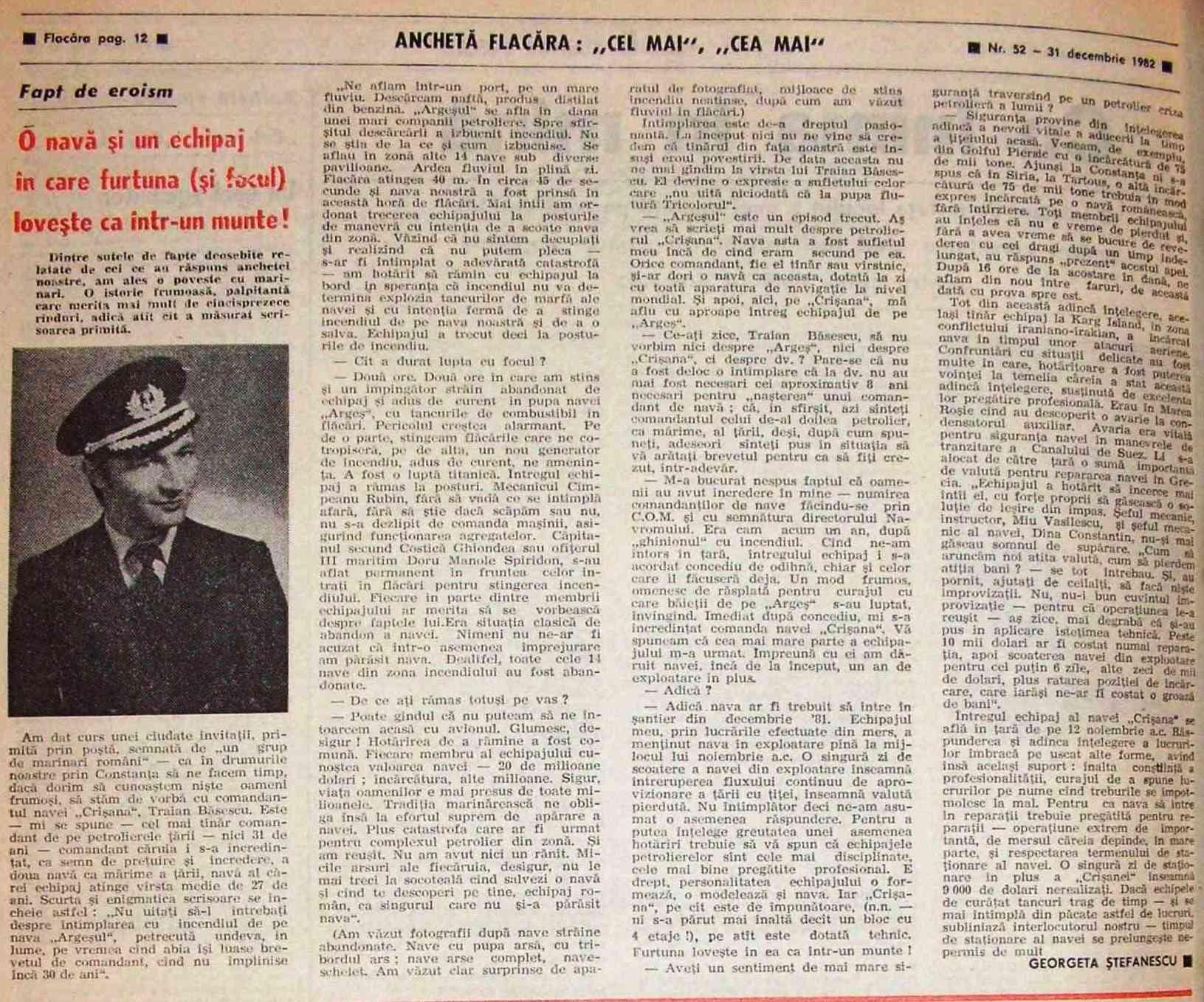 """Interviul acordat de Traian Băsescu revistei """"Flacăra"""" (31 decembrie 1982)."""
