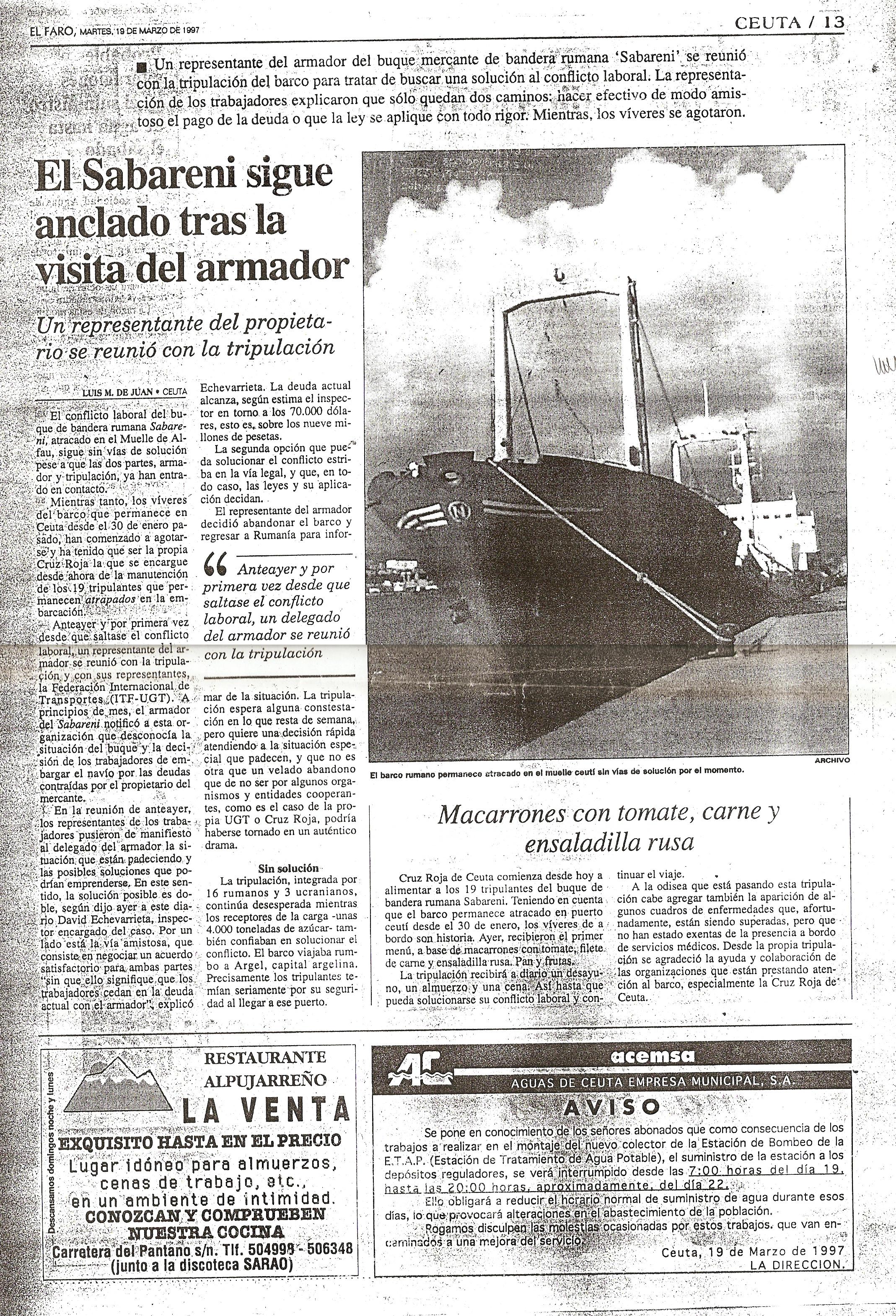 """""""El Faro de Ceuta"""" din 19 martie 1997."""