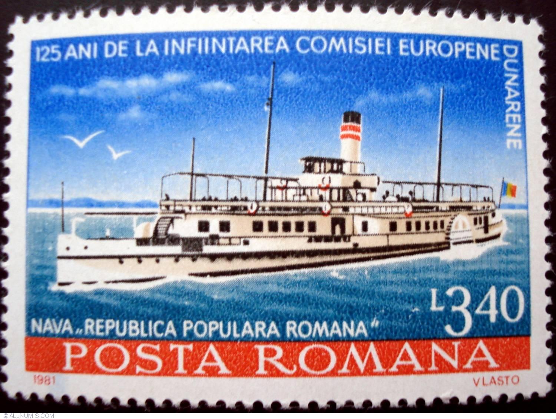 """Timbru din anul 1981, reprezentând nava """"Republica Populară Română"""", emis cu prilejul împlinirii a 125 de ani de la înființarea Comisiei Europene Dunărene."""