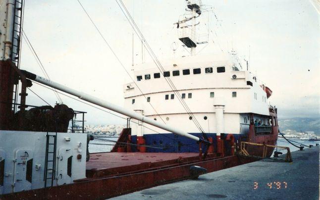 """Cargoul """"Săbăreni"""" (arhiva foto Pantea Andone, comandantul navei)."""