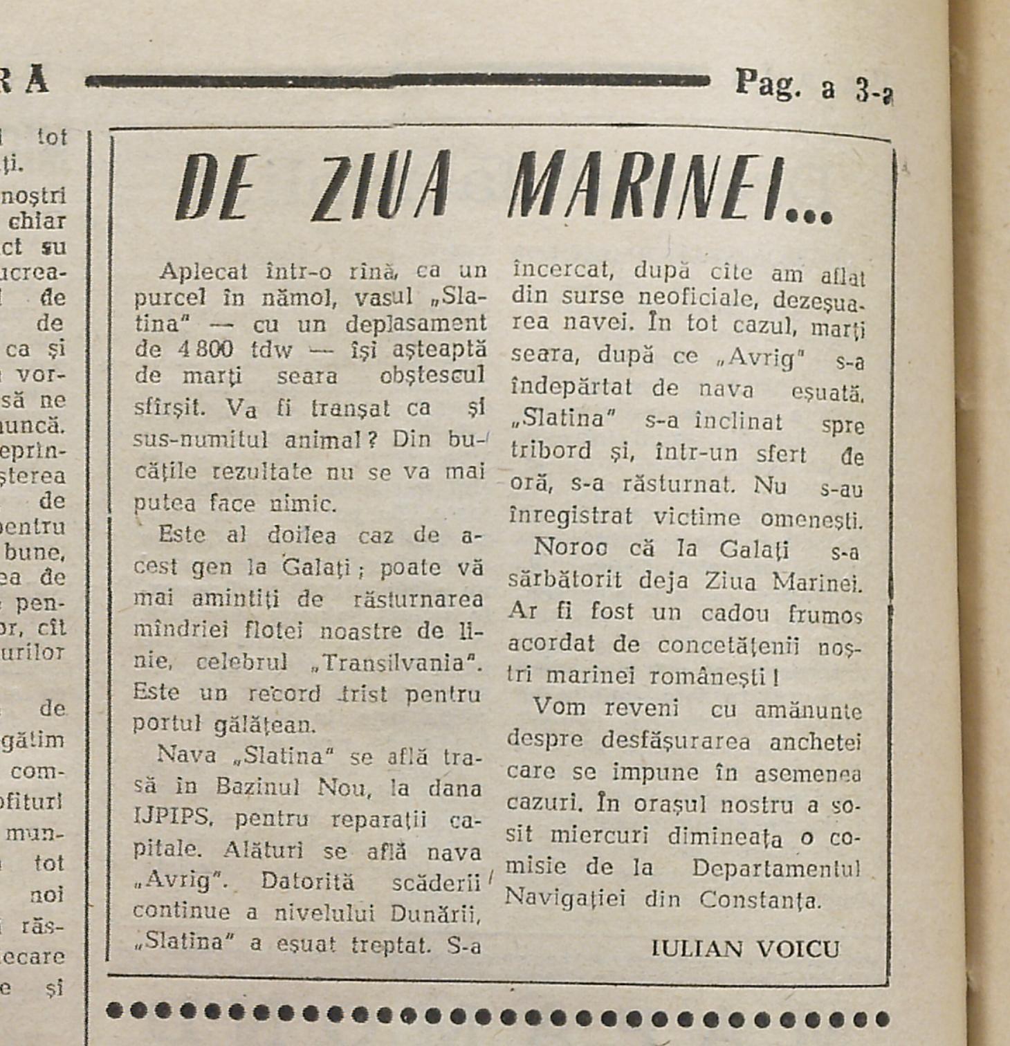 """Eşuarea cargoului """"Slatina"""" (""""Viaţa liberă"""", Galaţi, nr. 199, 16. august 1990, pag. 3)."""