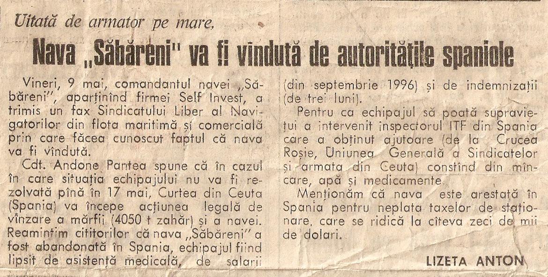 """Știre din cotidianul """"Evenimentul zilei""""/ 09 mai 1997."""