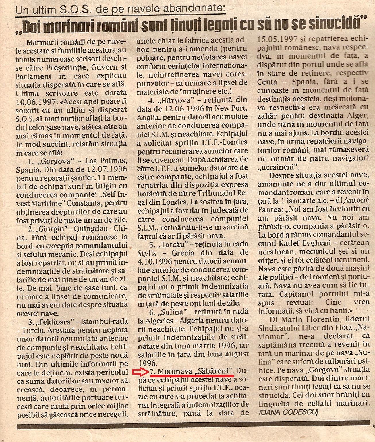 """""""Jurnalul Naţional"""", Anul V, nr. 1241, vineri, 27 iunie 1997, pag. 9."""
