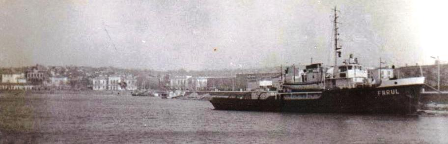 Remorcherul FARUL la Tulcea, februarie 1964 (foto din arhiva comandorului Bozenovici Nicolae).