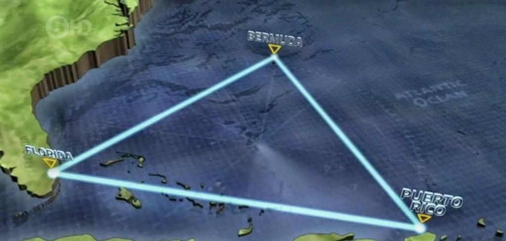 """Triunghiul Bermudelor (în engleză """"The Bermuda Triangle""""), cunoscut şi sub numele de """"Triunghiul Diavolului"""" - zonă aproximativ triunghiulară ca formă, cu cele trei colţuri localizate de Insulele Bermude, Porto Rico şi Fort Lauderdale, Florida în Oceanul Atlantic; suprafaţa cuprinsă este de circa 1,2 milioane km²."""