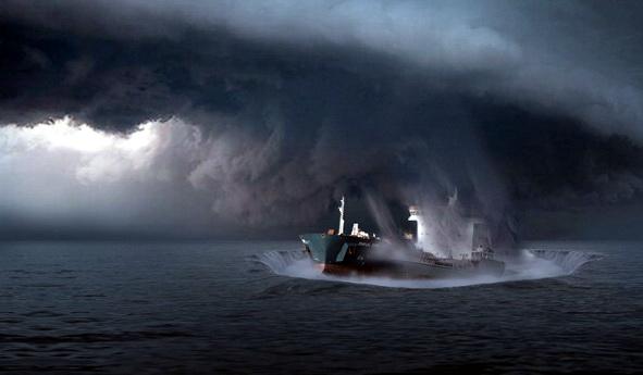 Experții sunt de părere că în subsolul marin din Triunghiul Bermudelor există mari pungi de gaz metan care la un moment dat se sparg violent. Gazele degajate urcă spre suprafața oceanului și produc pierderea flotabilității ambarcațiunilor aflate în trecere prin zona respectivă. De asemenea, când ajung în atmosferă, aceste gaze pot produce pierderea portanței aeronavelor care zboară pe acolo.