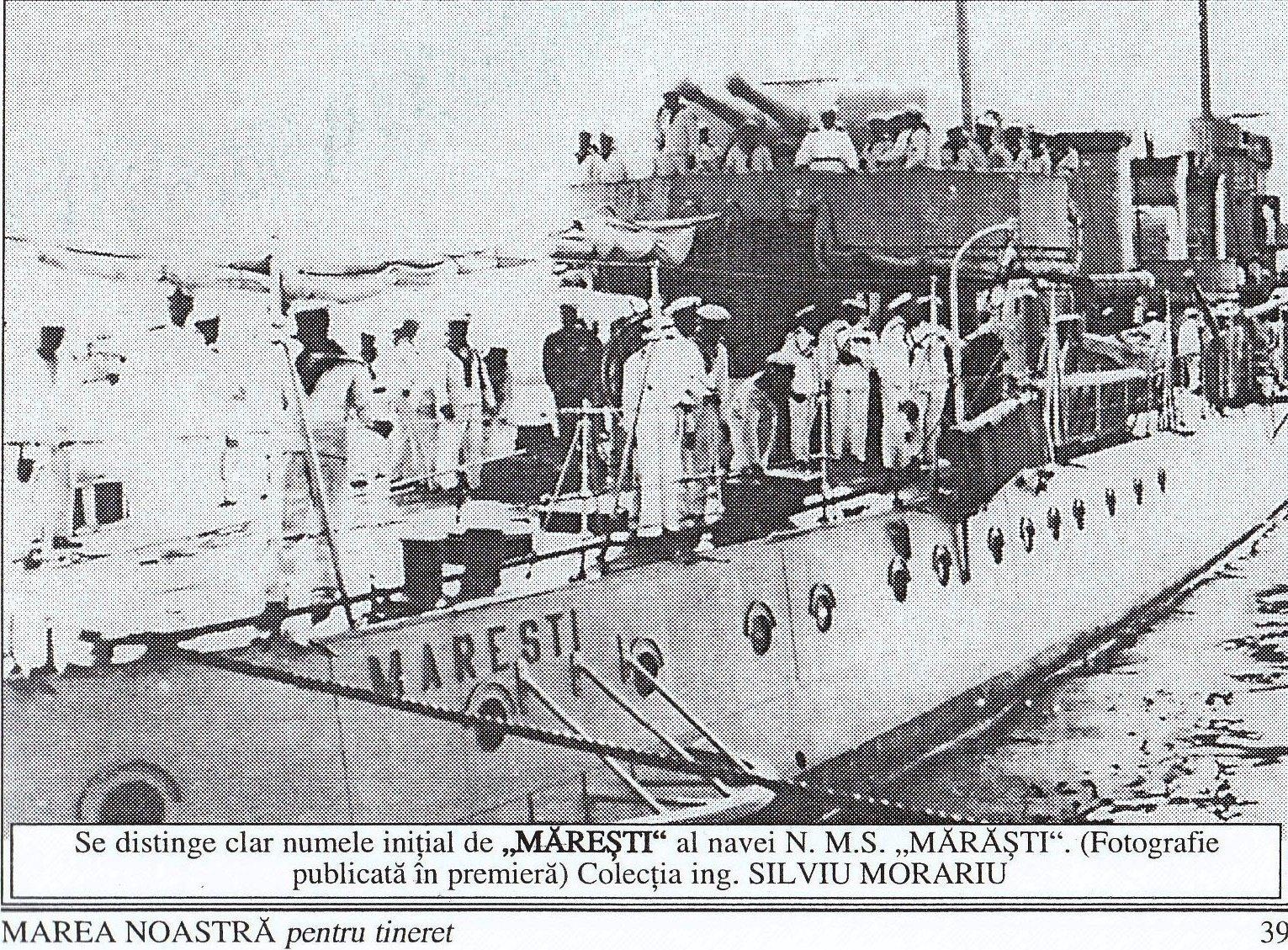 """Distrugătorul MĂREȘTI (foto """"Marea Noastră pentru tineret"""", Nr. 8 (1)/ 2002."""