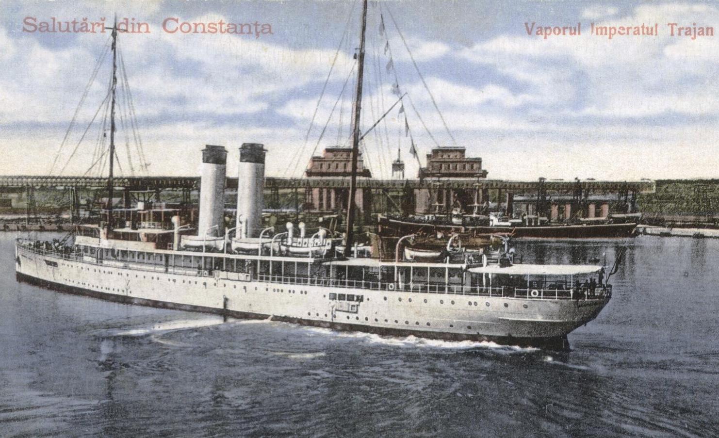 Nava ÎMPĂRATUL TRAIAN, în anul 1919, în timpul unor manevre efectuate în bazinul vechi al portului Constanța.