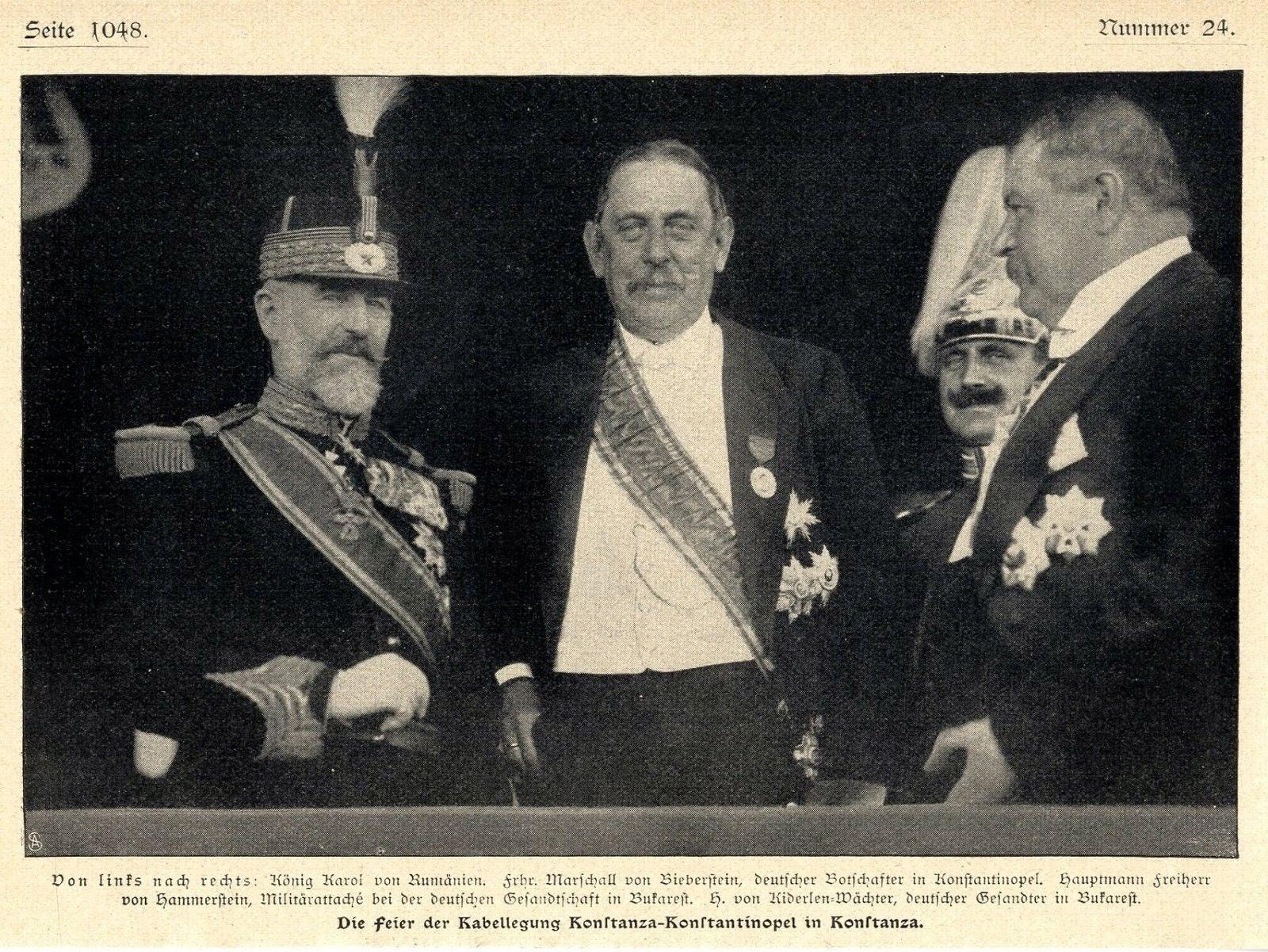 La ceremonia de inaugurare a montării cablului submarin Constanța - Constantinopol au fost prezenți Regele Carol I, directorul poștelor, Cerchez, ambasadorul Kiazim bey, ambasadorul Kiderlen - Wächter, miniștri și oficialități locale.