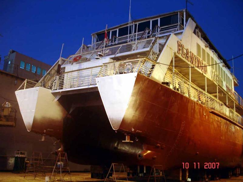"""Nava de pasageri """"Dierna"""" pe docul plutitor (vedere din pupa tribord)."""