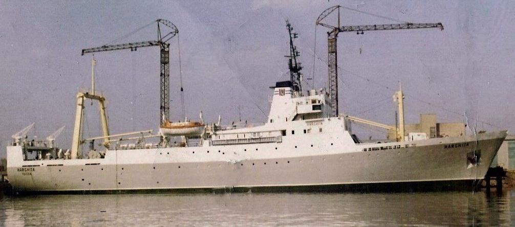 """Traulerul """"Harghita"""", tip B-419, clasa """"Vega"""" (pavilion: România, IMO: 7362304, 1.623 tdw., 2.632 trb., lungime: 88,30 m, lăţime: 15,00 m, pescaj: 5,40 m, echipaj: 87 membri, puterea maşinii: 3.600 c.p., viteza: 15,1 Nd., viteza de traulare: 4,5-5,0 Nd., capacitate încărcare peşte congelat: 800 to., autonomie: 90 zile, constructor: 1974, """"Stocznia Gdańska im. Lenina"""", Gdansk - R. P. Polonia). În anul 1979 a efectuat o misiune de cercetare în apele Mozambicului. La 01.02.1981,nava s-a scufundat în urma exploziei caldarinei, traulerul fiind în S.N. Tulcea. A fost tăiat la Aliaga, în 1995."""