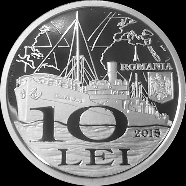 "Cargoul ""Inginer N. Vlassopol"" pe aversul monedei de argint."