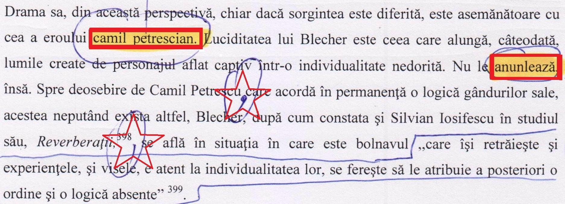 "Pag. 163: ""camil petrescian"", ""anunlează""."