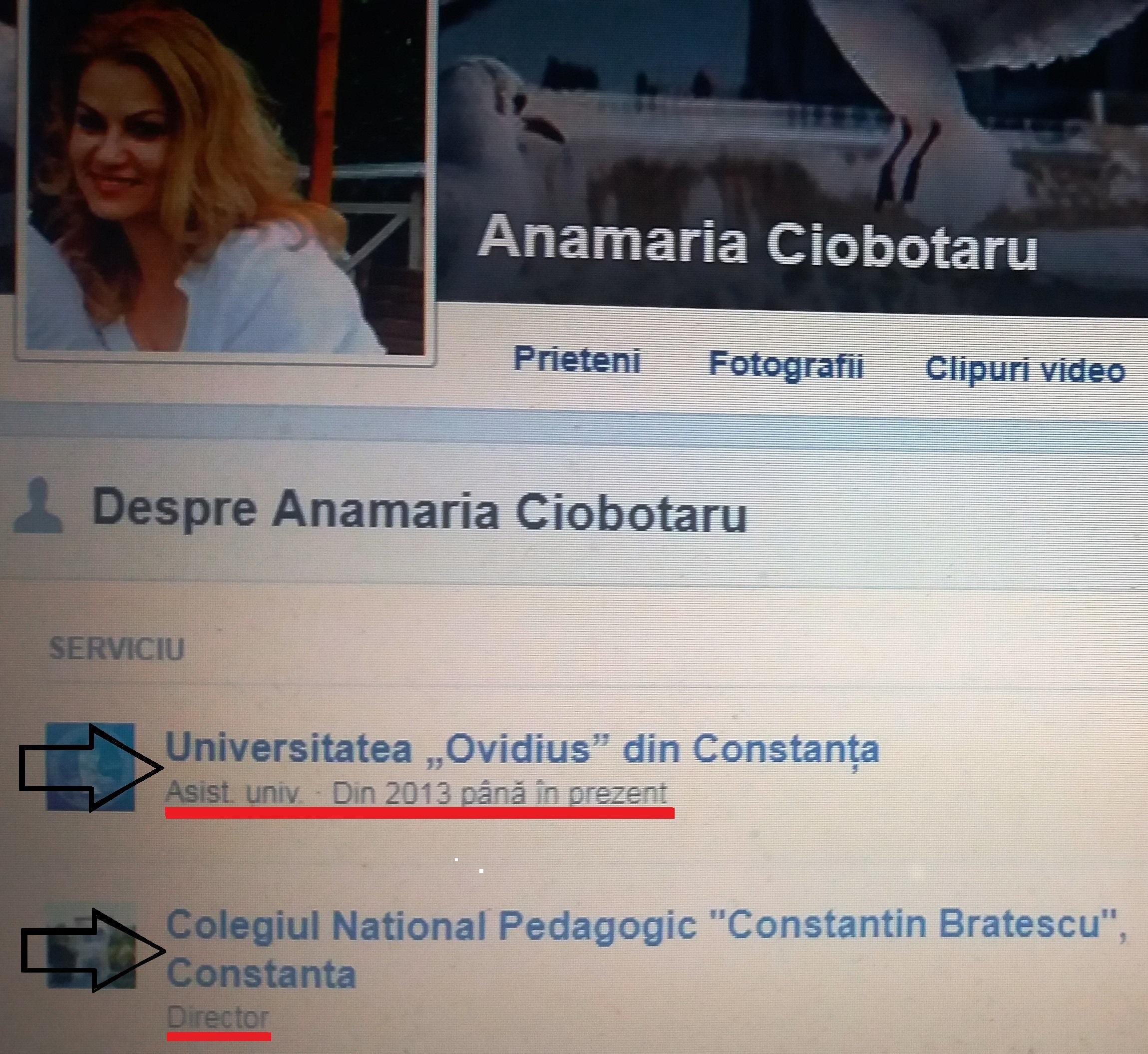 """Pe pagina personală de pe facebook, doctora Anamaria Ciobotaru pretinde că este """"asist. univ. din 2013 și până în prezent"""", dar este de negăsit pe portalul Universității """"Ovidius"""" din Constanța!"""