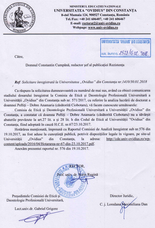 Adresa de înaintare a Hotărârii Universității OVIDIUS Constanța către REZISTENTA.ro.