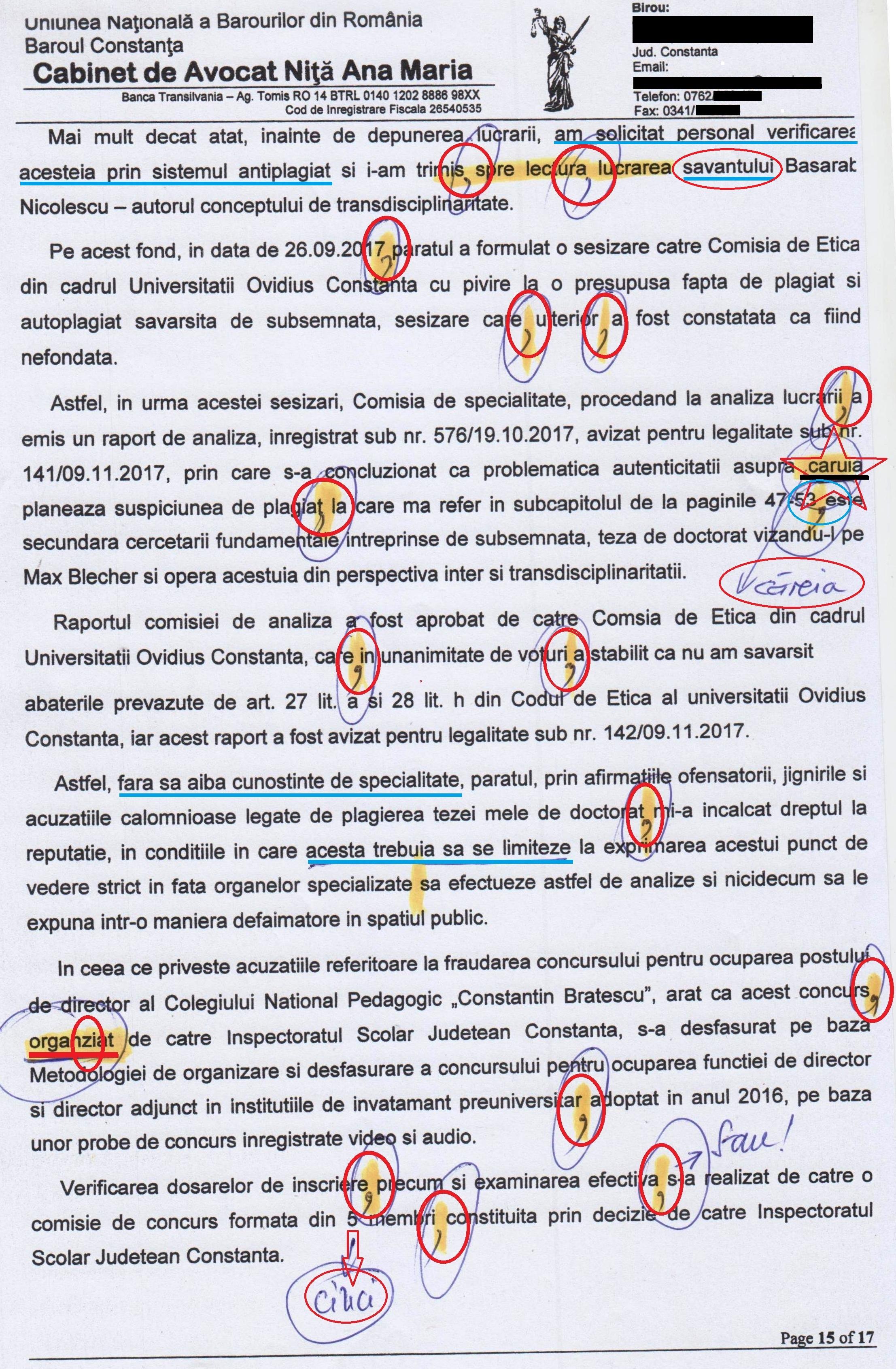 În asemenea hal arată o pagină a unei compuneri semnată de agramata Anamaria Ciobotaru, prof. de limba română și doctor în Filologie (pagina 15)!