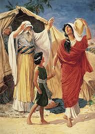 Hagar și Ismael, alungați. Hagar, o sclavă egipteană, care e posibil să fi fost negresă, era servitoarea lui Sarah, soţia patriarhului Avraam. Ea ar putea fi prima concubină menţionată în istoria scrisă. Deși avea 86 de ani, Avraam a reuşit să o lase gravidă și femeia l-a născut pe Ismael (care înseamnă «Dumnezeu aude»), căci Domnul a plecat urechea la supărarea ei cauzată de alungarea din casa lui Avraam.