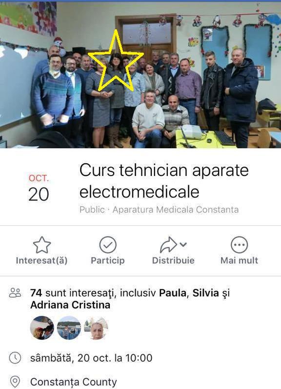 Adriana-Teodora Câmpeanu, în mijlocul participanților la cursurile de tehnician pentru aparate electromedicale. Fotografia este realizată în clasa Cameliei Sima (lider de sindicat/ Colegiu), care este învățătoarea unuia dintre copiii Adrianei Câmpeanu.