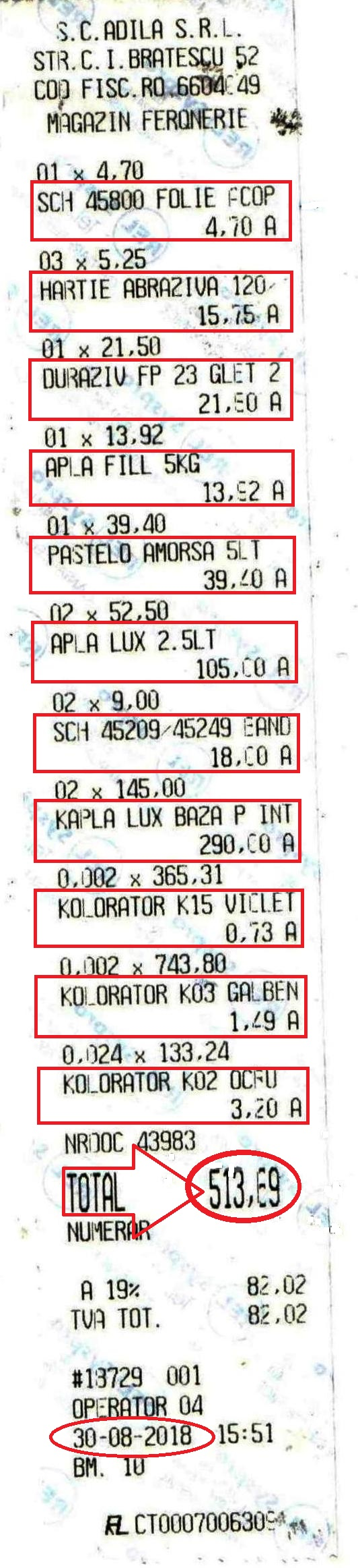 Bon fiscal, în valoare de 513,69, pentru plata altor materiale necesare renovării clasei, bani achitați de părinții elevilor.